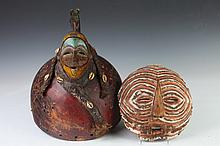 TWO AFRICAN WOOD MASKS, - Larger: 14 3/8 in.. high.