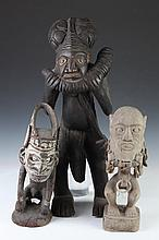 THREE AFRICAN WOOD FIGURES, - Largest: 25 in. high.