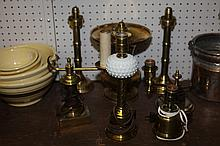 SEVEN PIECES BRASS METALWARE. - 12 1/2 in. high, largest.