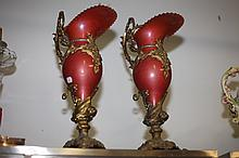 PAIR GILT-METAL MOUNTED IRIDESCENT METAL EWERS. - 19 1/2 in. high.