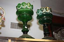 PAIR VICTORIAN ENAMELLED GREEN GLASS LUSTRES. - 13 1/2 in. to 14 in. high.