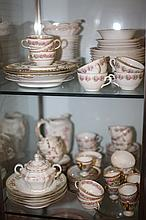 LARGE COLLECTION LIMOGES AND OTHER PINK FLORAL DECORATED PORCELAIN.