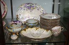 GROUP LIMOGES FLORAL DECORATED PORCELAIN.