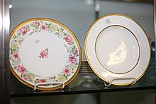 ELEVEN LIMOGES PORCELAIN PLATES AND EIGHT MINTONS SOUP PLATES. - 9 in. to 9 1/4 in. diam.