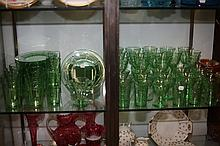70-PIECE GREEN GLASS SERVICE. - 8 1/4 in. diam., plates.
