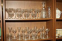 31-PIECE ETCHED COLORLESS GLASS STEMWARE SERVICE.