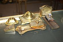 ELEVEN BRONZE AND BRASS DESK ACCESSORIES.
