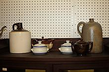 SIX PIECES CERAMICS INCLUDING TWO STONEWARE CROCKS. - 11 1/2 in. high, largest.