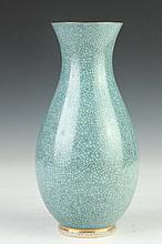 ROYAL COPENHAGEN TURQUOISE CRAQUELURE VASE. Underglaze blue wave mark; 460/3473. - 9 3/4 in. high.