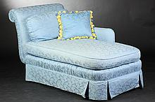 ONE-ARM UPHOLSTERED CHAISE LONGUE, 20th century. - 38 in. x 67 in. x 33 in.