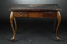 SOUTH AMERICAN QUEEN ANNE STYLE HALL TABLE WITH EMBOSSED LEATHER TOP. - 29 3/4 in. x 43 1/2 in. x 26 1/2.