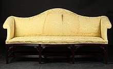CHIPPENDALE STYLE CAMELBACK SOFA, with yellow damask upholstery. - Length, 80 in. x Overall depth, 27 in.