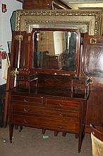 MAHOGANY INLAID VANITY WITH SWING MIRROR.