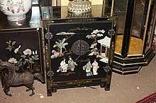 CHINESE BLACK LACQUERED SOAPSTONE INLAID CABINET. - 30 in. x 23 1/8 in. x 11 in.
