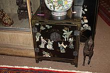 CHINESE BLACK LACQUERED SOAPSTONE INLAID CABINET, - 24 3/8 in. x 20 1/4 in. x 16 1/8 in.