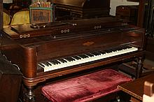 CHICKERING PIANO AND BENCH. - Piano: 37 1/2 in. x 61 in. x 25 in., bench: 18 in. x 35 in. x 14 1/2 in.
