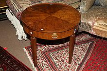 AMERICAN WALNUT CIRCULAR LOW SIDE TABLE, - 21 1/2 in. x 25 in. diam.