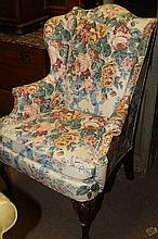 AMERICAN QUEEN ANNE STYLE ARM CHAIR. - 39 1/2 in. x 28 1/2 in. x 18 1/2 in.