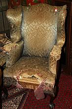 QUEEN ANNE UPHOLSTERED WING CHAIR.