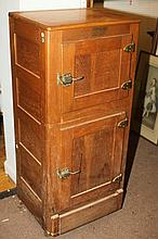 AMERICAN GOLDEN OAK PANELED ICE CHEST, Circa 1900, Northern Refrigerator Co., Grand Rapids, Michigan.