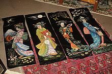 FOUR JAPANESE PAINTED SILK PANELS, - 48 3/8 in. x 15 5/8 in.