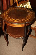 MARQUETRY INLAID CIRCULAR SERPENTINE-EDGE TABLE, with conforming glass top. - Height, 29 in ; Diam., 24 in.