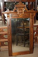 VICTORIAN RENAISSANCE REVIVAL WALNUT WALL MIRROR. - 55 in. x 35 in.