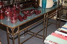 CONTEMPORARY GLASS TOP CONSOLE TABLE, 21st century. - 33 in. x 84 in. x 24 in.