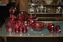 COLLECTION ETCHED CRANBERRY GLASS,