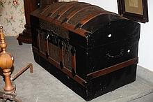 BLACK LACQUERED AND STAMPED METAL DOME-TOP TRUNK, with oak banding.