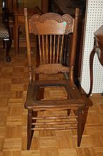 ARTS AND CRAFTS GOLDEN OAK SIDE CHAIR, - 41 in. x 18 1/2 in. x 18 in.