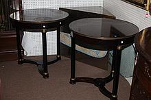 PAIR NEOCLASSICAL STYLE CIRCULAR BLACK LACQUERED SIDE TABLES, Late 20th century. - H: 31 1/2 in., Diam: 31 in.
