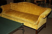 HEPPLEWHITE STYLE SOFA, by Century Furniture, upholstered in gold velvet fabric.