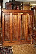VICTORIAN WALNUT BOOKCASE WITH GLAZED DOORS. - 62 in. x 58 in. x 16 in.