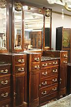 ITALIAN ROSEWOOD MARBLE-TOP BUREAU WITH MIRRORED SUPERSTRUCTURE, with gilt-painted floral relief panels. - 89 in. x 51 1/4 in. x 23 in.