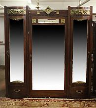 ITALIAN ROSEWOOD TRI-PART ARMOIRE WITH MIRRORED DOORS,