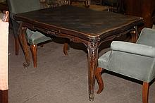 FRENCH PROVINCIAL PARQUETRY DRAW-LEAF DINING TABLE.