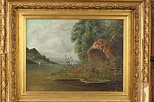 CONTINENTAL SCHOOL (20th century). LANDSCAPES: TWO WORKS, oil on canvas and oil on board.