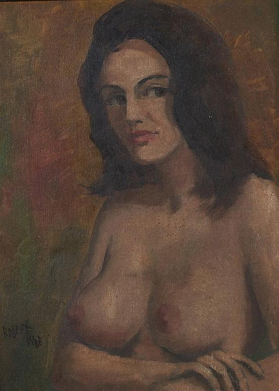 ROBERT WEE (American, 20th century). SEATED FEMALE NUDE, signed lower right. Oil on canvas.