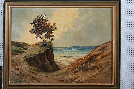 GÜNTHER HEINZEL (German, 20th century). COASTLINE, signed lower left. Oil on canvas.