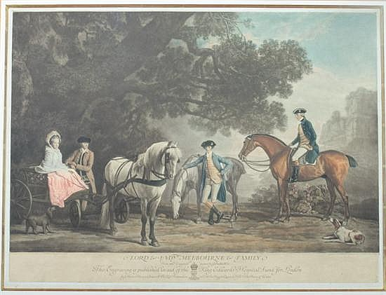 AFTER GEORGE STUBBS (British, 1724-1806). Lord & Lady Melbourne & Family, Color engraving. Published Henry Graves & Co., London. Framed
