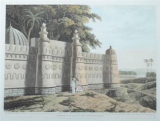 THOMAS DANIELL, RA AND WILLIAM DANIELL, RA (British, 1749-1840 and 1769-1837). Exterior of an Eed-Gah Near Chaynpore, Bahar, Aquatint.
