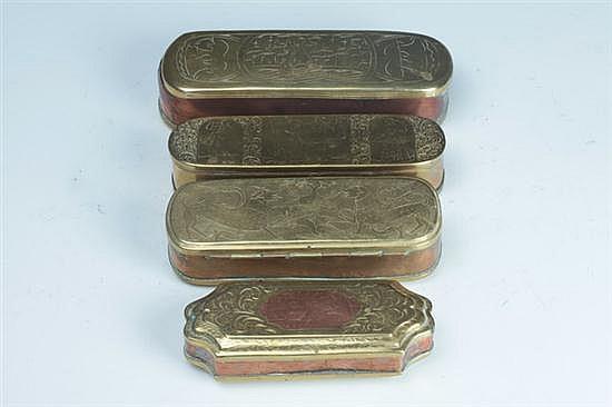 FOUR DUTCH BRASS TOBACCO BOXES, 18th century.