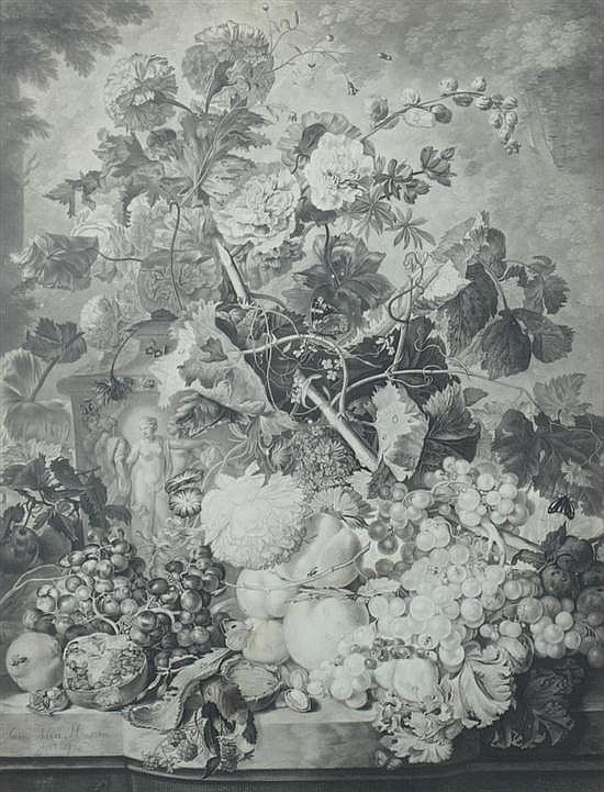 AFTER JAN VAN HYSUM (Dutch, 1682-1749). Still-life with Fruit and Flowers: Two Works, Black and white engravings. Framed.