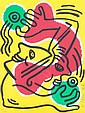 KEITH HARING (American, 1958-1990). INTERNATIONAL VOLUNTEER DAY, signed and dated '88 and numbered 657/1000 in pencil lower margin and