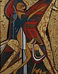 RAYMOND HILLARY ANDREWS (South African born 1948). THE WARRIOR, oil and gold leaf on incised wood panel.