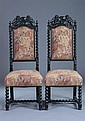 PAIR ARGENTINIAN BAROQUE STYLE EBONIZED HALL CHAIRS, early 20th century. - 51 3/4 in. x 20 1/2 in. x 18 in.