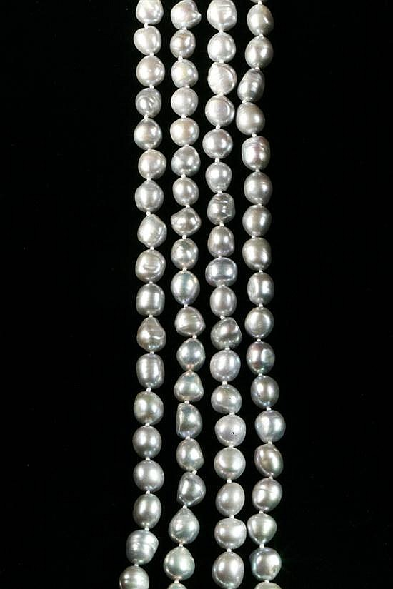 ENDLESS STRAND BAROQUE PEARL NECKLACE.