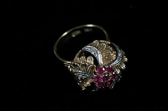 18K YELLOW AND WHITE GOLD, DIAMOND AND RUBY FLORAL DESIGN DOME RING.