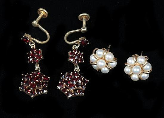 TWO PAIRS VINTAGE EARRINGS,
